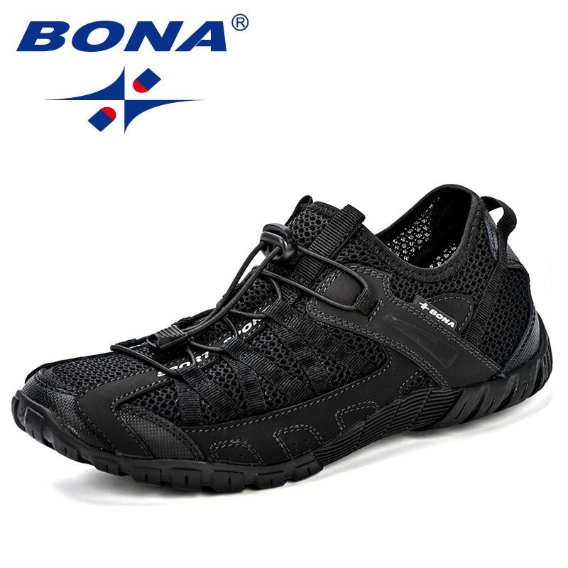 BONA 2018 Verão Sapatilhas Homens Respirável Sapatos Casuais Sapatos Da Moda Homens Sapatos Tenis Masculino Adulto Sapato Masculino Homens Lazer Sapato