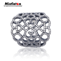 Genuine 925 Sterling Silver Lace Silver Ring With Cubic Zirconia Ring Compatible With Pandora Ring Jewelry