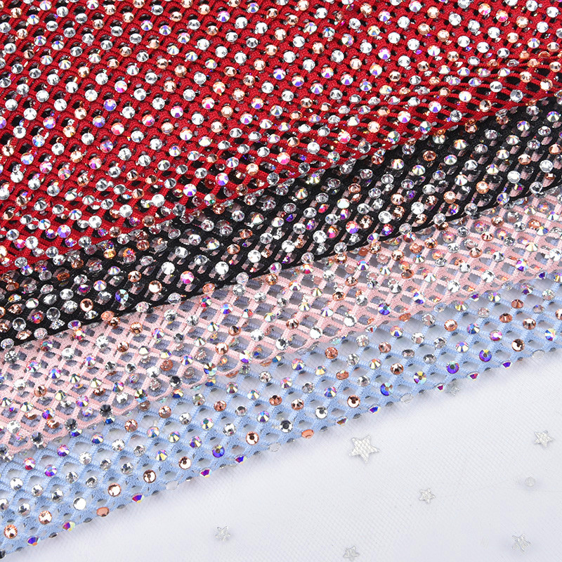 23.5*39cm/Sheet New Stretch SS16 Rhinestone Mesh Strass Clear Crystal AB Trim Glass Stone Sewing For Garment Bags Shoes DIY