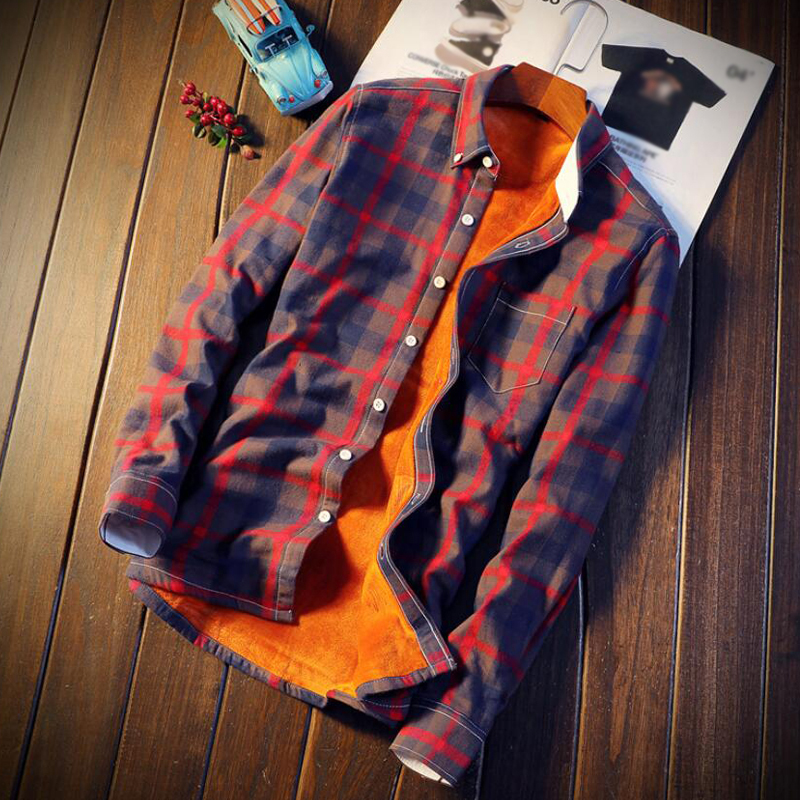 Mens Casual Autumn Winter Spring Thick Warm Fleece Cotton Long Sleeve Shirt 5XL Camisa Masculina Shirt Men Plaid Flannel Shirts