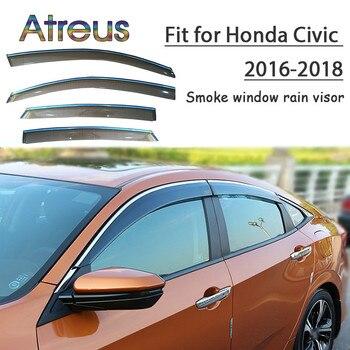Atreus 1set ABS For 2018 2017 2016 Honda Civic Accessories Car Vent Sun Deflectors Guard Smoke Window Rain Visor