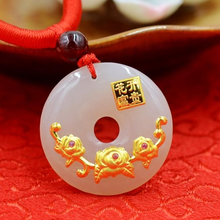 Natural HeTian Yu white jade mosaic Hua kai fu gui