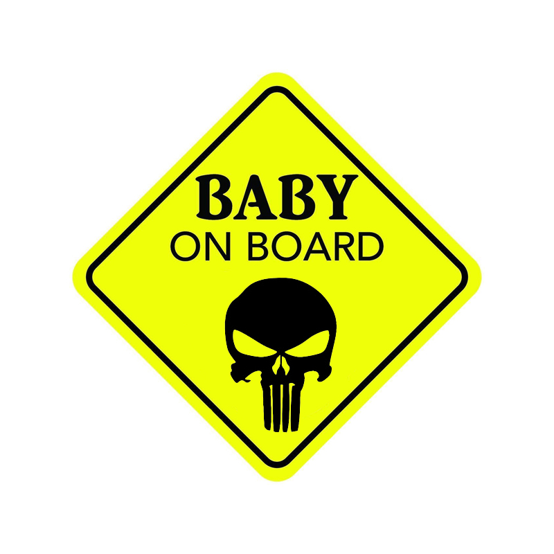 YJZT 13.4CM*13.4CM BABY ON BOARD Decal PVC Funny Skull Car Sticker 12-40514