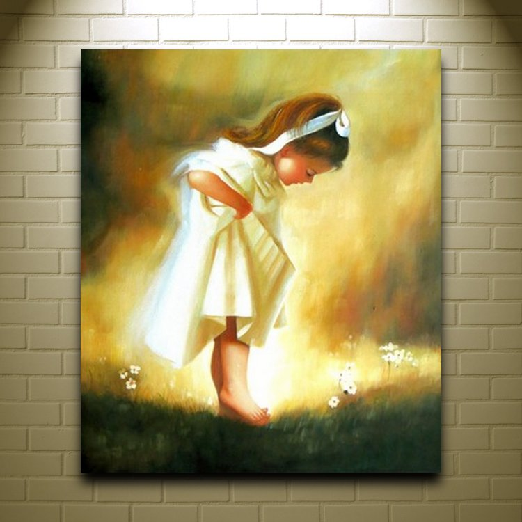 Handmade children oil painting on canvas a little girl for Oil painting patterns