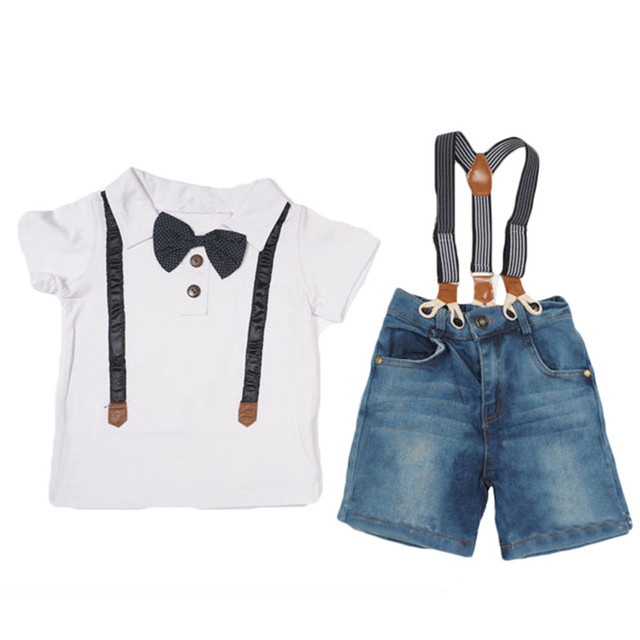 2017 New Summer boys clothes 2pcs/set kids gentleman bow tie two piece t-shirt+ jeans fashion boys clothing set white