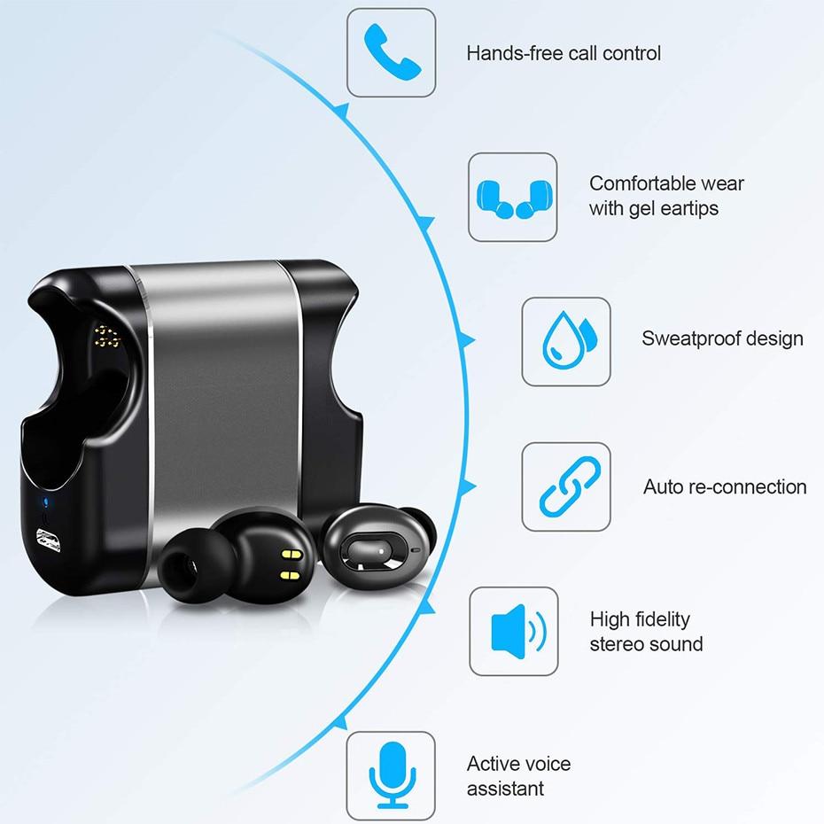 Mini Auricolari Bluetooth Super Bass Suono V5.0 TWS Auricolari Senza Fili di Sport a Mani Libere Cuffie Per Samsung iPhone Xiaomi - 2