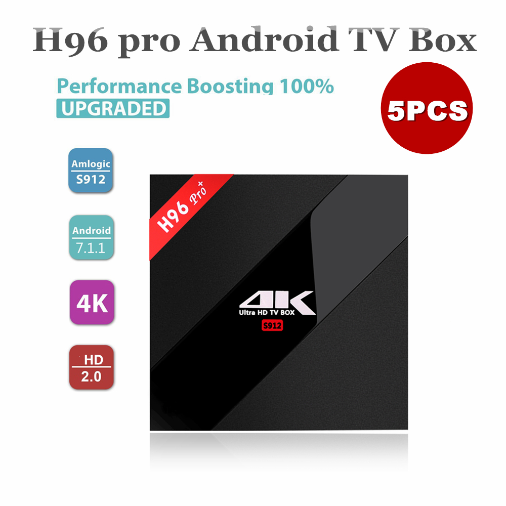 5 stks 2 + 16g H96 Pro + Android TV Box Amlogic S912 Android 7.1 Smart TV Box ondersteuning 4 k uitgang-in Set-top Boxes van Consumentenelektronica op  Groep 1