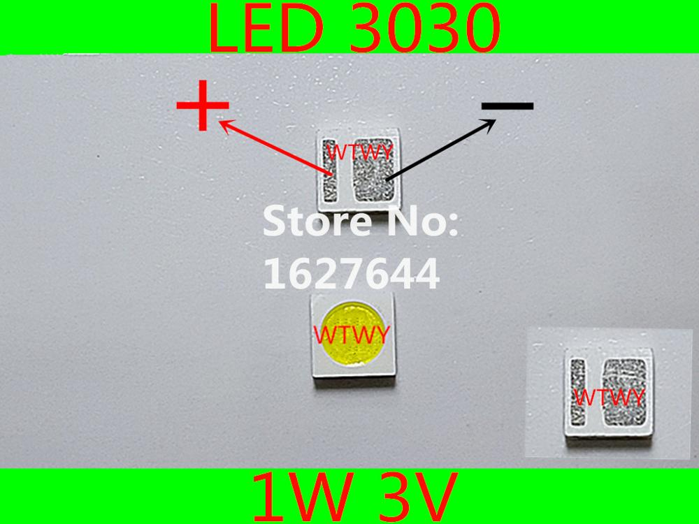 1000pcs EVERLIGHT LED 3030 LED Backlight TV High Power 1W 3V LED Backlight Cool white For