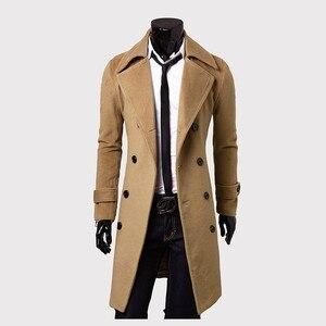 Image 4 - メンズトレンチコート新ファッションデザイナー男性ロングコート秋冬ダブルブレスト防風スリムトレンチコートの男性プラスサイズ