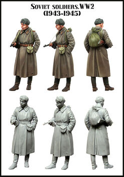 [tuskmodel] 1 35 scale resin model figures kit WW2  soviet Soldiers 4345 1