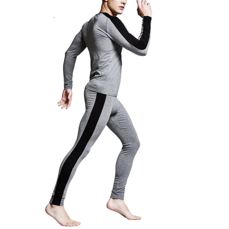 Winter Men Long Johns Sets Soft Cotton Thermal Underwear Sets Winter Legging Men Warm Sexy O-Neck Slim Long John Sets For Men
