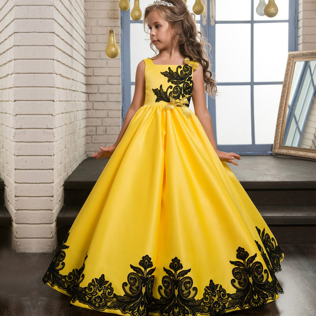 5c133bc33cb EMS  DHL Free Shipping 2018 Children s Clothing Wholesale Satin Yellow Wedding  Dress Embroidered Black Lace Dress Princess Dress