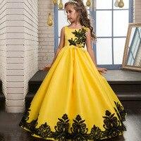 EMS/DHL Liberan el Envío 2018 de Los Niños Ropa Al Por Mayor Amarillo Satinado Vestido de Novia Bordado de Encaje Negro Vestido de Princesa Vestido