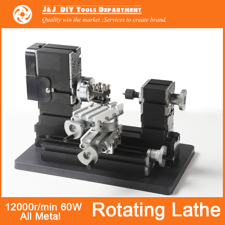 Big Power Mini Metal Rotating Lathe with 12000r min 60W Motor and Larger Processing Radius DIY