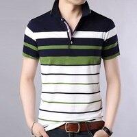 Летняя мужская рубашка поло в полоску, классическая Повседневная брендовая рубашка с коротким рукавом, мужские Поло, Мужская одежда, новинк...