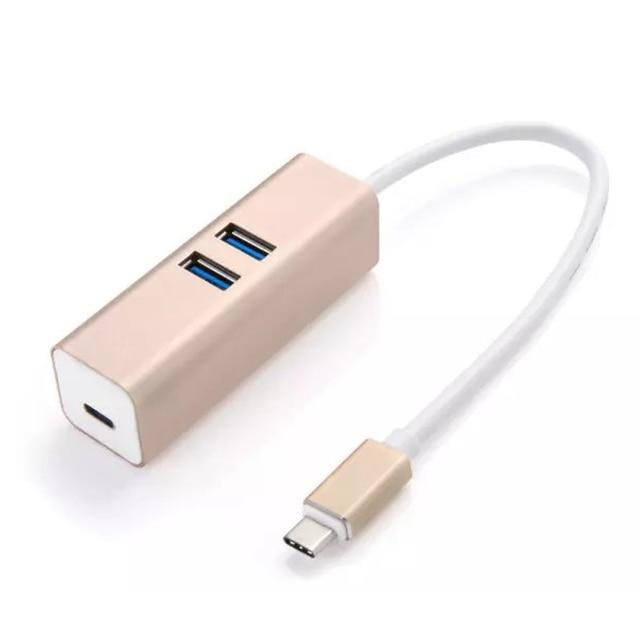 10 unids/pack de Alta Velocidad de 2 Puertos USB 3.0 Tipo C Hub Portable De Aluminio HUB Cable de Carga y sincronización de Datos para Macbook Envío gratis