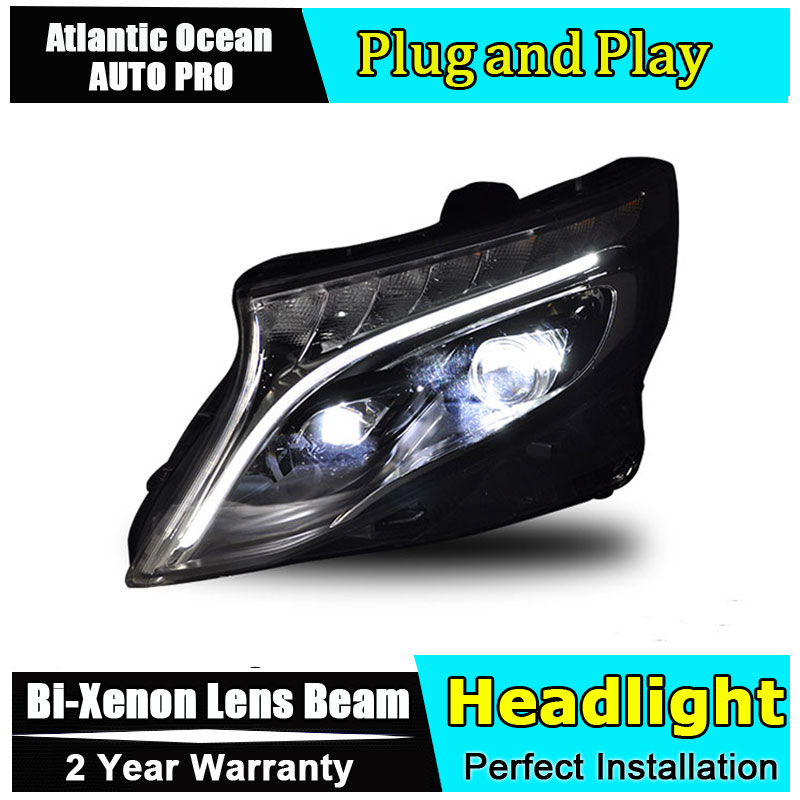 Auto part Style LED Head Lamp for Benz vito led headlight 2017 for vito drl H7 hid Bi-Xenon Lens angel eye low beam headlight for kia k2 rio 2015 including angel eye demon eye drl turn light projector lens hid high low beam assembly