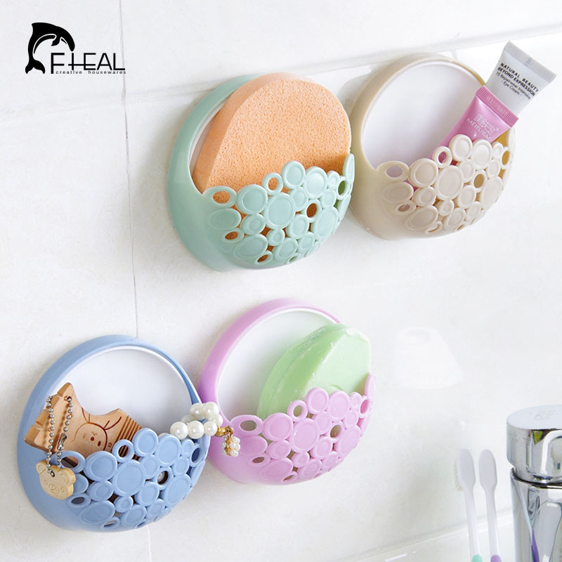 FHEAL Bathroom Wall Suction Cup Toothbrush Toothpaste Holder Kitchen Wall Mount Sucker Soap Gadgets Storage Rack