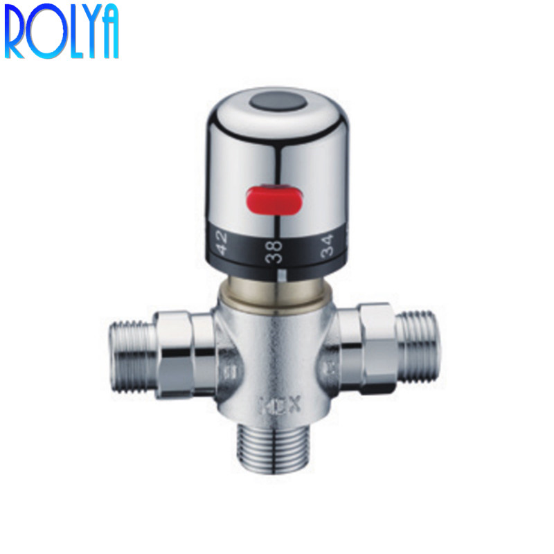 Rolya Solar Thermostatic Mixing Valve for Water Heater 3 Way G1 2 Bath Shower Faucet Control