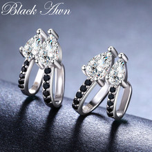 Birthday Present Ear Clip 925 Sterling Silver Jewelry Engagement Stud Earrings for Women Black Spinel Female Earring I024(China)