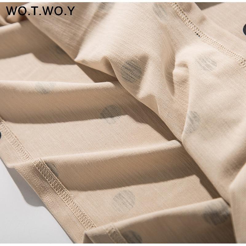 WOTWOY Summer Polo Shirt Dress Women Dot Print Plus Size Loose Cotton Maxi Dresses Pocket Short Sleeve Black Apricot Long Dress 10