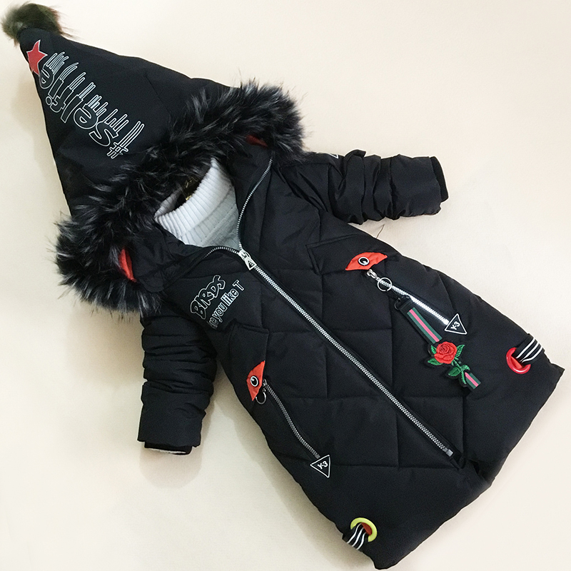 BibiCola girls winter cots 2018 fashion cotton letter jackets for children warm long style hooded outerwear kids clothes outfitsBibiCola girls winter cots 2018 fashion cotton letter jackets for children warm long style hooded outerwear kids clothes outfits