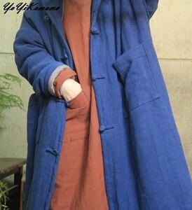 Image 2 - YoYiKamomo Donne Parka Inverno Vintage Caldo A Maniche Lunghe Tasca di Colore Solido Con Cappuccio Spessa Casuale Allentato Breve Cappotto Lungo