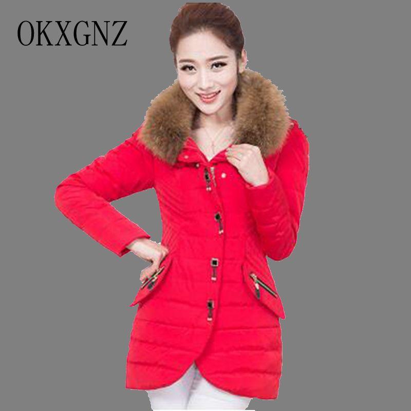 ФОТО OKXGNZ Women winter coats 2017 New Fashion Big yards Pure Color Hooded Collars Coat jacket Medium long tommy Cotton Jacket QQ023