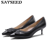 2018 Spring New Genuine Leather Women S Pumps Pointed Toe Dress Shoe Shallow Middle Thin Heels