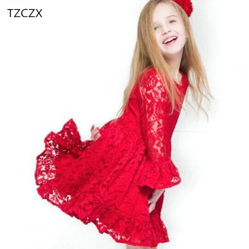 TZCZX-3220 New Children Girls Dress Cute Fashion Solid Lace Hollow Princess Dress For 2-7 Years Old Kids Wear Clothes hello bobo girls dress collection of sports in the new year is suitable for 2 to 6 years old children s clothing