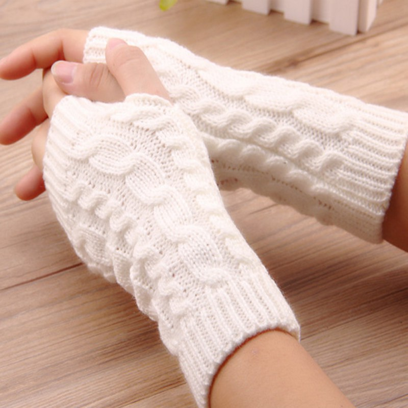 Winter Autumn Fashion Women Warm Soft Gloves Eight-character Twist Knitted Fingerless Gloves