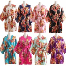 Women Silk Satin Wedding Bride Bridesmaid Robe Floral Bathrobe Short Kimono Robe Night Robe Bath Robe Fashion Dressing Gown R103(China)