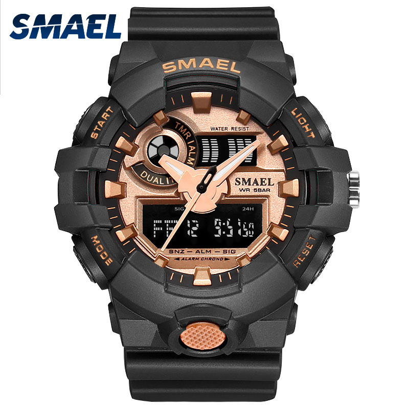Men Watches SMAEL Brand Gold Color Sport Watches Male Clock Dual Display Electronics Wristwatches Hot Time Watches Men Gift 1642Men Watches SMAEL Brand Gold Color Sport Watches Male Clock Dual Display Electronics Wristwatches Hot Time Watches Men Gift 1642