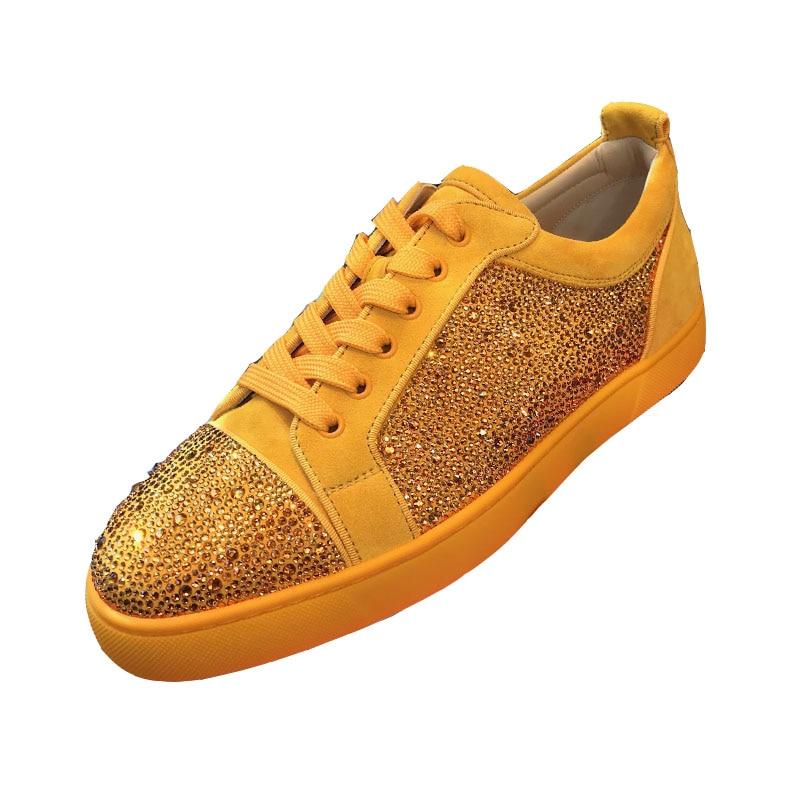 Nova Unissex Do Flats Até Casual Par Da Sapatos Amarelo Moda Brilhante Pé As Homens Estilo Picture De Redondo Dedo Rendas Camurça Cristal Cor Lazer vEqwrOv