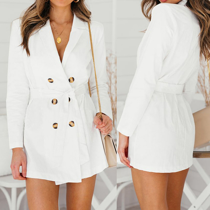 Turn-down Collar White Long   Trench   Women Double Breasted Sash Slim Autumn Winter Coats Female Office Wear Ol Style