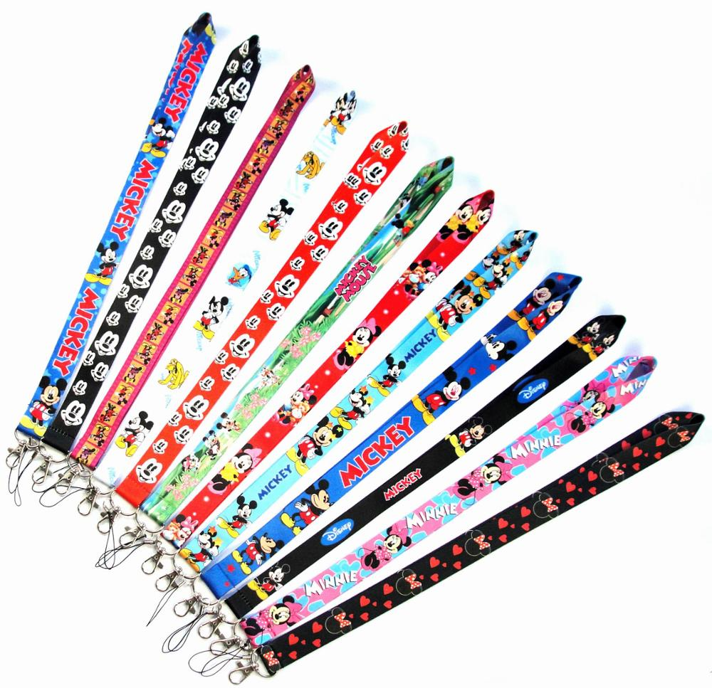 50 PCS Mickey Minnie Mouse key lanyards id badge holder keychain straps for mobile phone Free