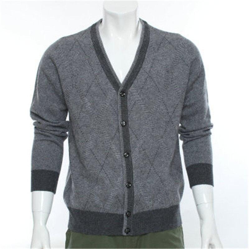 Новое поступление 100% козья кашемир Аргайл вязать моды для мужчин однобортный свитер с v образным вырезом Серый 2 вида цветов S 2XL