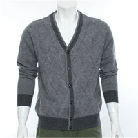 new arrival 100%goat cashmere argyle knit men fashion single breasted cardigan sweater Vneck grey 2color S 2XL