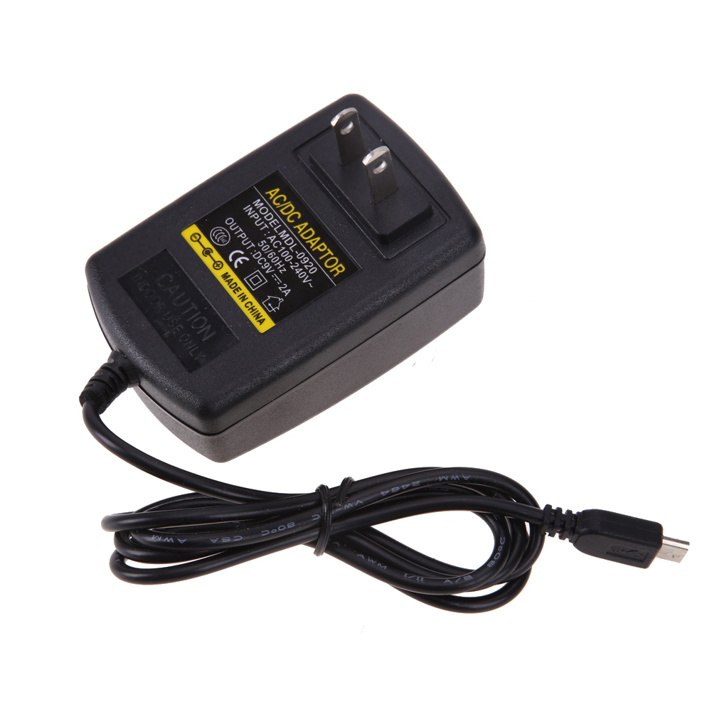 us plug ac to dc power supply adapter ac 110 240v to dc 9v 2a micro usb charger adapter for. Black Bedroom Furniture Sets. Home Design Ideas
