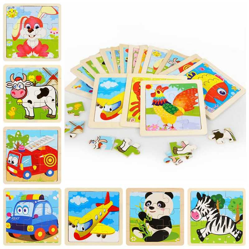 Mini Animal Puzzle Wooden Puzzle Rabbit Panda Cow Wooden Toy 3D Puzzle Fire Truck Car Education Toy Kids Toys Children Puzzles