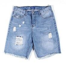 Men distressed Denim Shorts Jeans Plus Size 40 42 44 46 48 Summer Ripped vintage retro Holes Short Denim Pants Plus Size