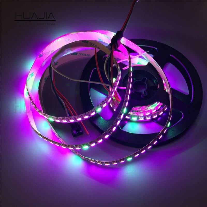 1 м WS2812B 5050 RGB 144 светодиодный s/М цвет мечта Светодиодные ленты света Индивидуальный Адресный 5 В белый и черный PCB-Водонепроницаемый
