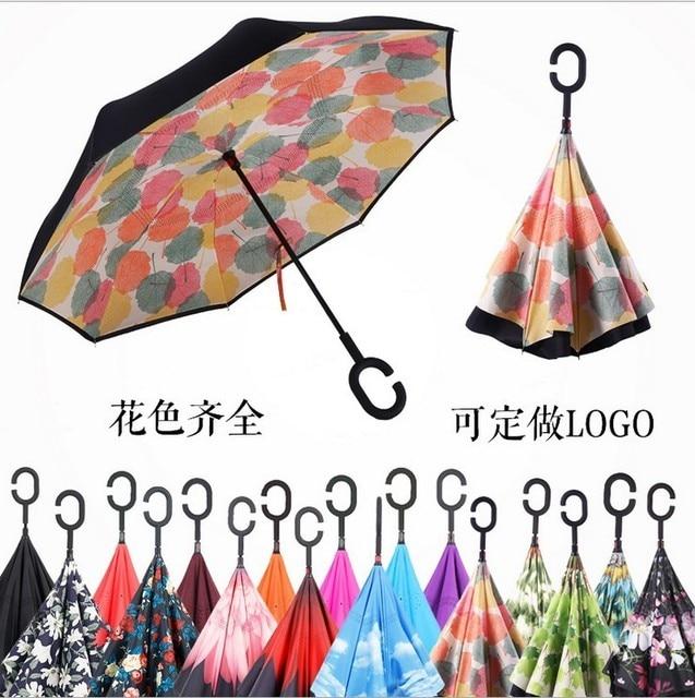 dropshipp Windproof Reverse Umbrella Folding Double Layer Inverted  Self Stand umbrella rain women high quality 2017durable