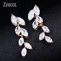 ZAKOL Branch Shaped Design Elegant Marquise Cut Zircon Long Drop Earrings For Women Fashion Gold Plated Jewelry FSEP512