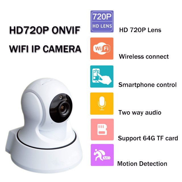 "Mini PTZ home security WiFi IP Camera with 1/4"" 720P HD CMOS Sensor IR Cut Auto Switch Day and Night Motion Detect Video Record"