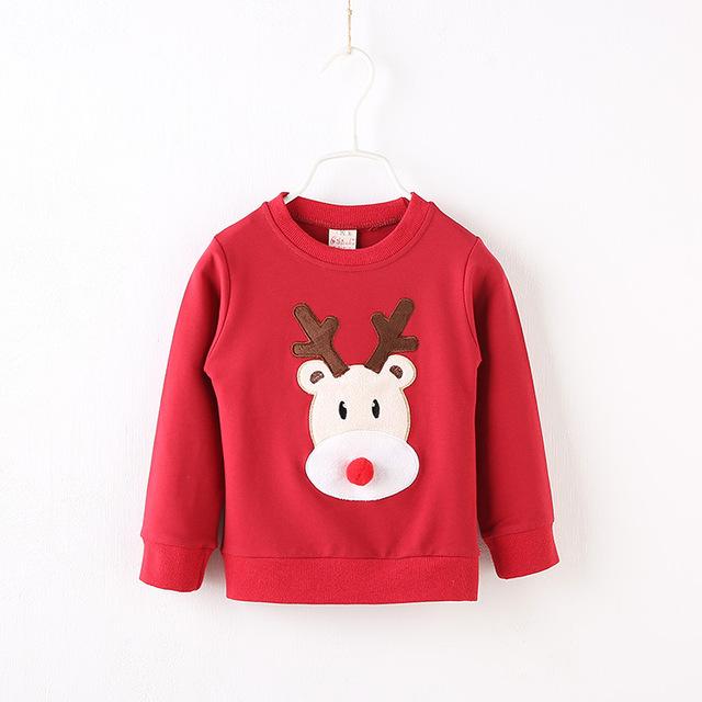 2016 outono Meninos Roupas De Natal de Crianças Bonito da longo-luva Impresso cervos Camisetas primavera Roupas da menina Das Crianças