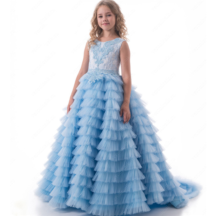 купить 2017 New Blue For Girls Pageant Dress Flower Girl Dress O-neck Sleeveless Ball Gown Appliques First Communion Gown Vestidos по цене 7428.73 рублей