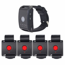 1 Receiver + 4 Call Button Wireless Watch Pager Calling System Paging System For Patient The Elderly Emergency F4403A