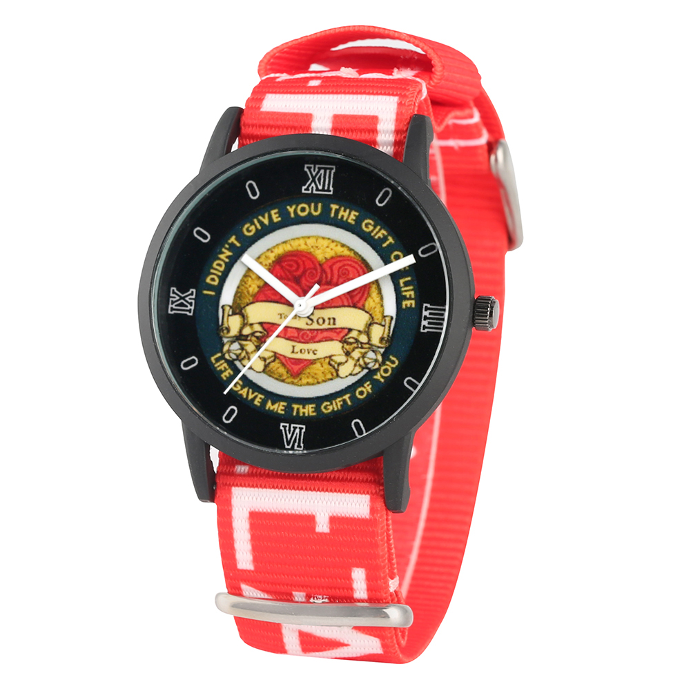 Children's Watch To My Son Logo Quartz Watch Red Heart Pattern Dial Watch Nylon Strap Wristwatch For Boys Relogio Children's