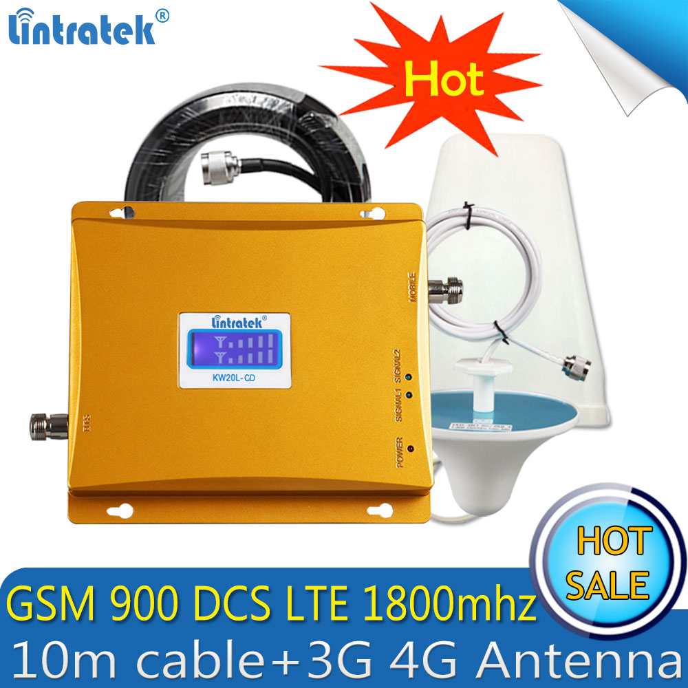 Lintratek GSM 900mhz LTE 1800mhz 2G 4G Signal Booster 900mhz 1800mhz 4G Cellular Dual Band Signal Repeater Amplifier 4G Antenn